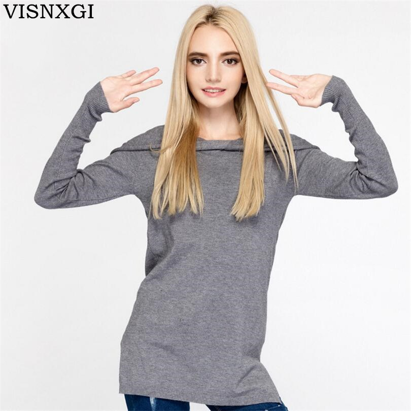 VISNXGI Autumn Winter Sweater Women Casual Long Sleeve Hooded Pullover Top Fashion Loose Sweater Feminino Good Quality Clothe