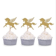 10pcs Mini Gold Silver Glitter Unicorn Birthday Wedding Cupcake Toppers Baby Shower Cake Kid Party Supplies