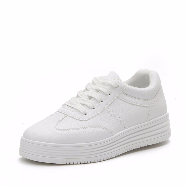 1e7642792a 2018 autumn new fashion women shoes casual high platform hole PU leather  striped simple women casual white shoes sneakers
