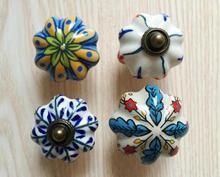 5PCS Vintage Look Flower Ceramic Knobs Door Handle Cabinet Drawer Cupboard Pull