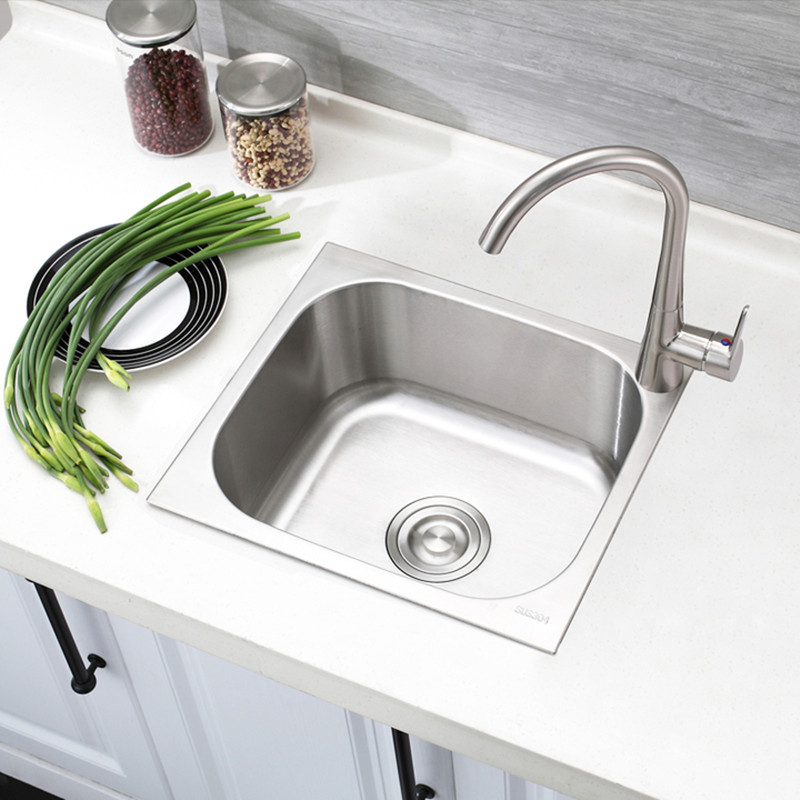 Small Mini Single Slot Small Family 304 Stainless Steel Sink Basins Thickening Stage 37 * 32 Balcony SINGLE BOWL