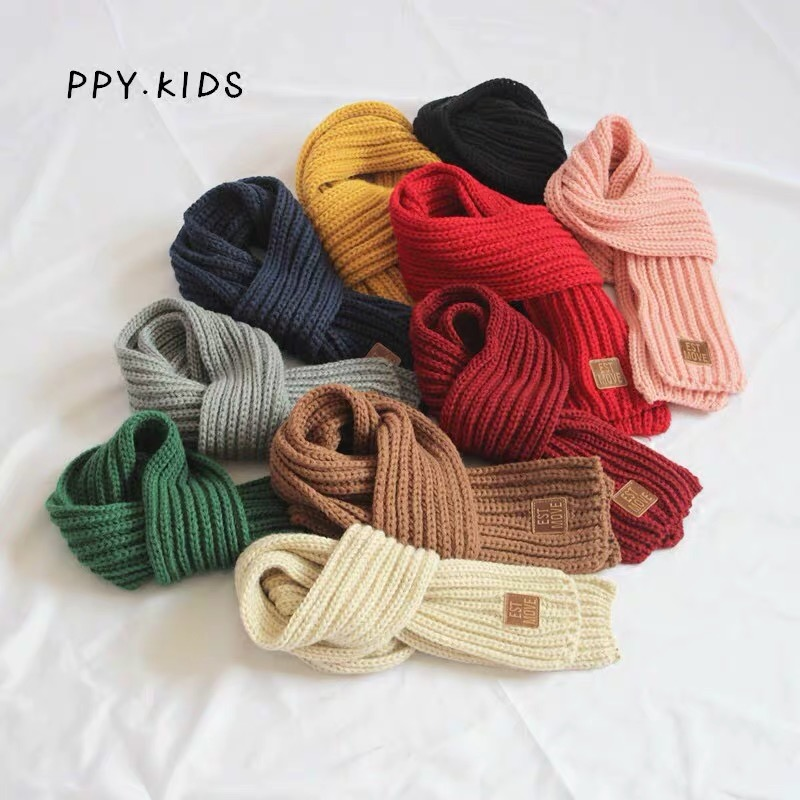 Children's Scarf Boys Warm Girls Thickened Small Scarf Knitting Korean Version Boys Girls Scarf Autumn And Winter