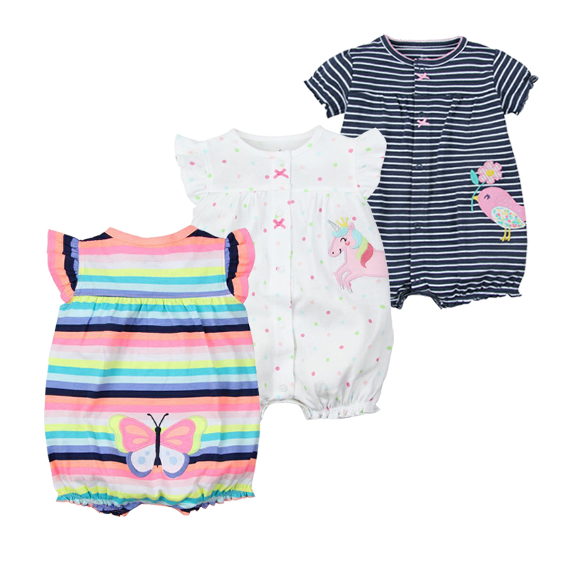 Baby Girls Rompers Summer Fashion Short Sleeve Baby Clothing Toddler Roupas Clothes Newborn Baby Clothes Infant Jumpsuit Animal db7191 dave bella summer baby girls newborn infant toddler jumpsuits children short sleeve printing clothing baby romper
