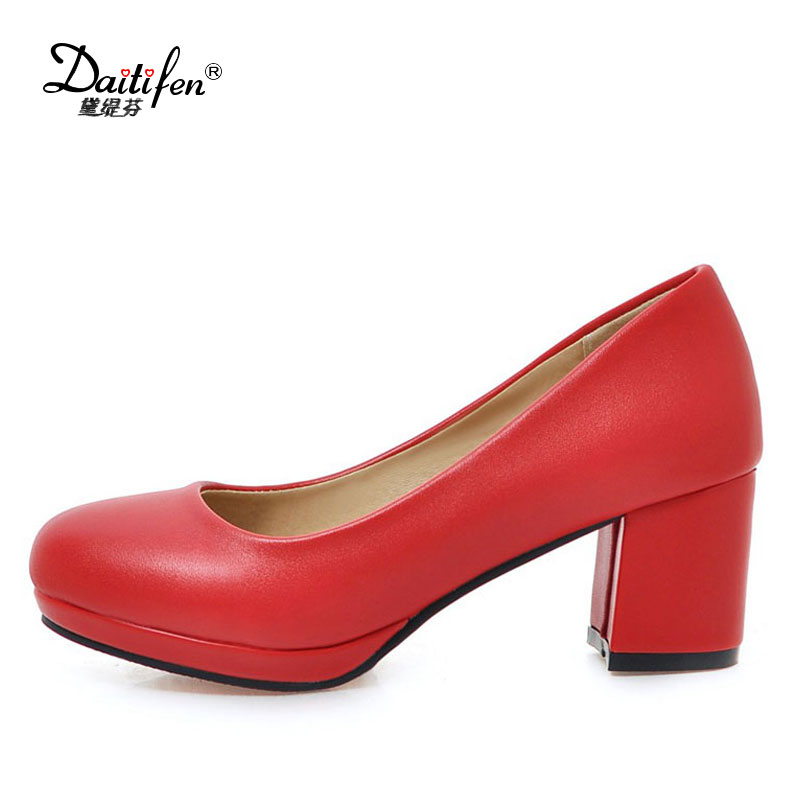 Daitifen 32-43 Office Lady High Heel Shoes Women slip on Round Toe Thick Heels Pumps Party Dating Female Lady Soft Footwears kemekiss size 32 45 women concise pumps square toe high heels shoes solid office lady thick heel pump party wedding footwears