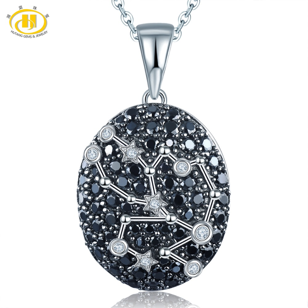 Hutang Taurus Pendant 925 Silver Necklace Natural Gemstone Spinel Constellation Sign Birthday for Gift 20th April