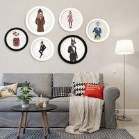抽象動物額装キャンバス絵画鹿クマ犬人体ピクチャーホームインテリア木製diyラウンドポスターファッションスタイル