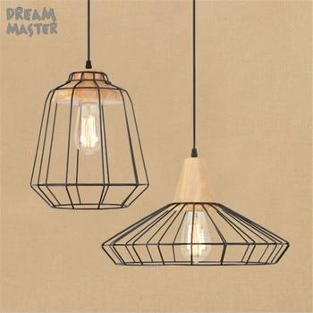 Nordic Style Wooden Loft Solid Chandelier lustre Industrial LED Hanging Lamp Home Fixture for Bar Restaurant Living Room