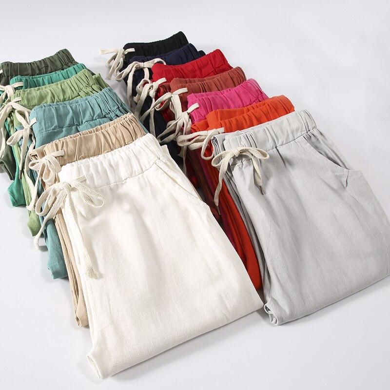 Women Summer Cotton Linen Pants Solid Elastic Waist Candy Colors Harem Trousers Plus Size Women Pants 5xl 6xl 7xl