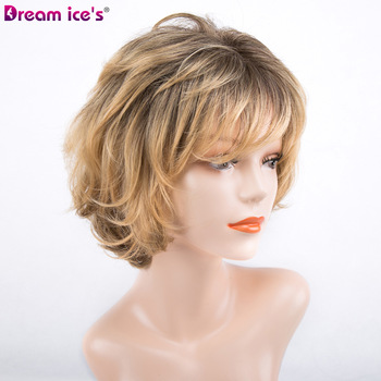 synthetic short black yellow grey bob wig straight ombre cosplay wig Dream ice's 1