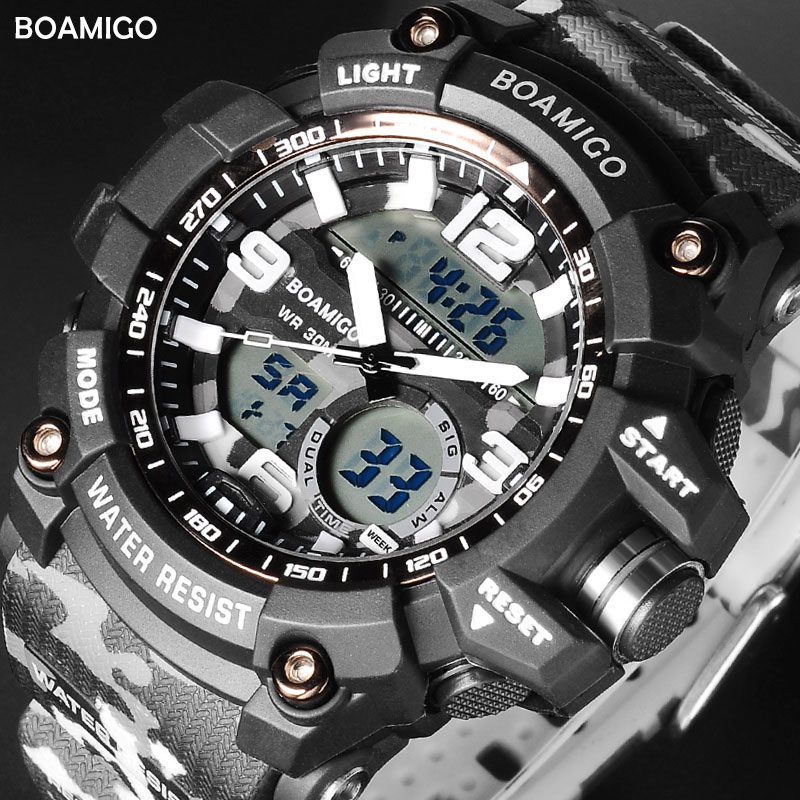 BOAMIGO Brand Digital LED Plastic Watches Dual Display Sports Watch Military Quartz Movement Accurate Time Keeping Wristwatch
