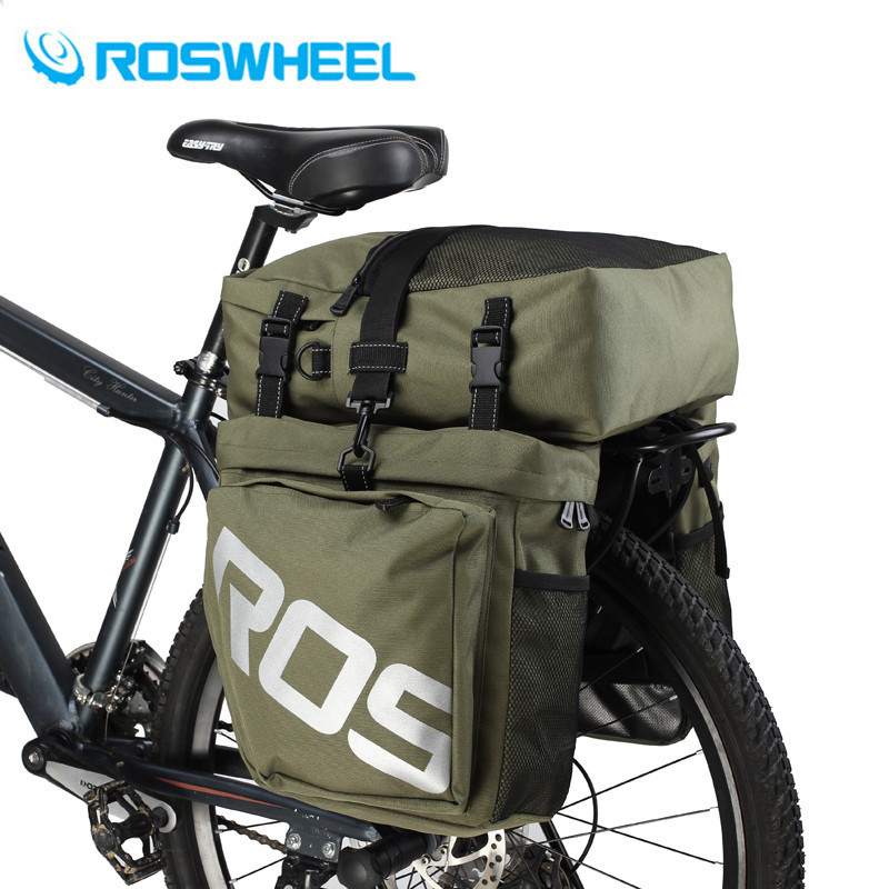 ROSWHEEL 37L 3in1 Waterproof Bike Mountain Cycling Bicycle Bike Pannier Side Rear Seat Bag Bicycle Accessories osah dry bag kayak fishing drifting waterproof bag bicycle bike rear bag waterproof mtb mountain road cycling rear seat tail bag