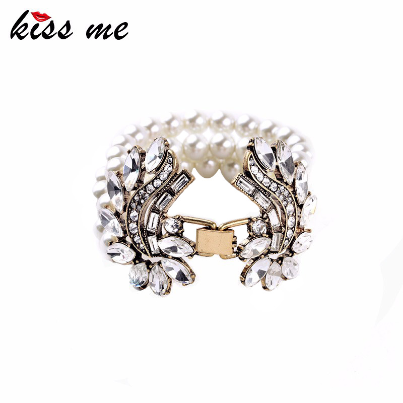 Classic Female Chic Inlay Crystal Simulated Pearl Africa Hot Sale Cuff Bracelet Factory Wholesale graceful faux crystal cuff bracelet