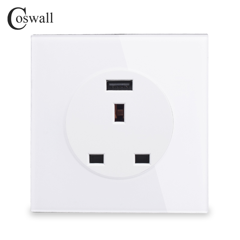 Coswall Crystal Glass Panel 13A Wall Outlet UK British Standard Power Socket With USB Fast Charging Port DC 5V 2A R11 Series uk socket wallpad crystal glass panel 110v 250v switched 13a uk british standard electrical wall socket power outlet uk with led