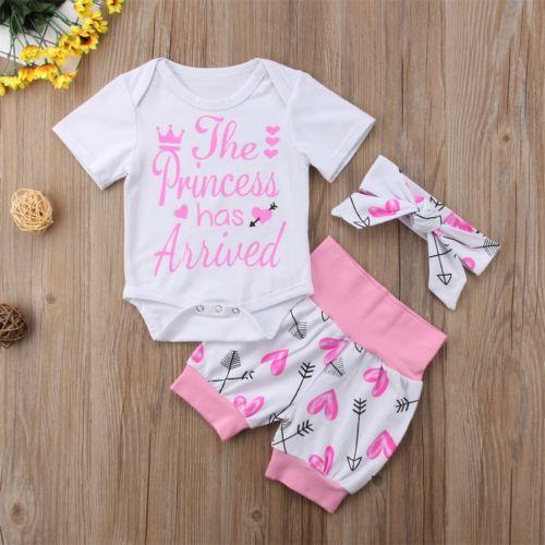 Baby Girls Letter Print Romper + Arrow Pants Leggings Outfit Clothes 3 pcs baby cloth set