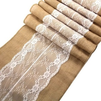 """30x275cm 12x108 """"blanco Shabby Chic arpillera con encaje Hessian Yute natural camino de mesa para boda decoración de mesa de fiesta AA7942"""