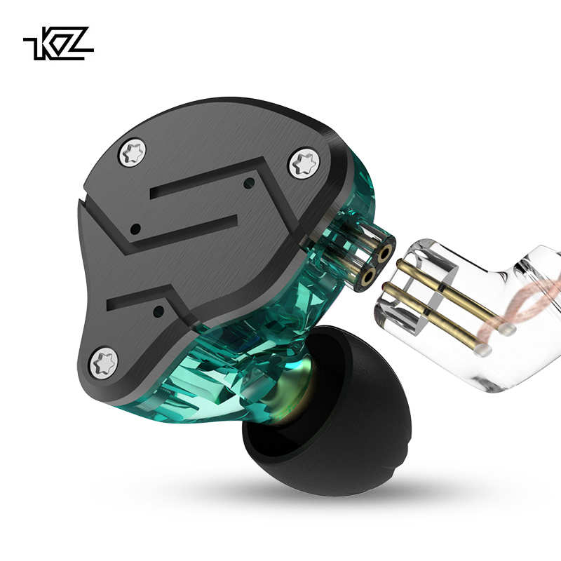KZ ZSN Metal Headphones Hybrid technology 1BA+1DD HIFI Bass Earbuds In Ear Monitor Earphones Sport Noise Cancelling Headset original awei es q3 headset noise isolation bests sound in ear style hifi earphones for phone mp3 mp4 players 3 5mm jack