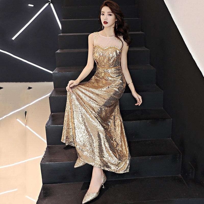 Robe Party À Sans gold Paillettes Or Rayé Femme Femmes Élégant De Luxe Diamant Champagne Ete 2018 Robes Manches Sexy Club Célébrité 6wq0x4