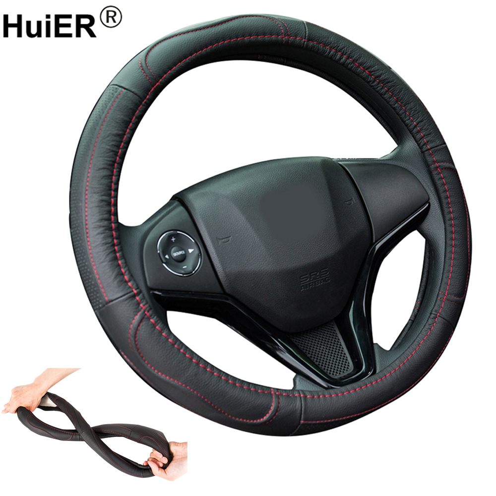 HuiER Genuine Head Layer Cow Skin Auto Car Steering Wheel Cover Anti-slip For 38CM Auto Car Styling Steering-wheel Free Shipping