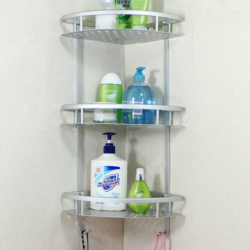 1pcs Three Layer Wall Mounted Bathroom Towel Rack Washing Shower Basket Bar Shelf Accessories Shampoo Holder In Shelves From Home