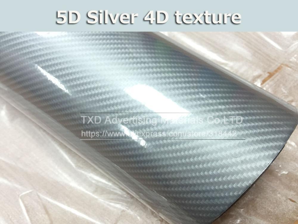 Высокое качество ультра-синий глянец 5D углеволоконная виниловая Обёрточная бумага 4D текстура супер глянцевая 5D углерода Обёрточная бумага s с 10/20 Вт, 30 Вт/40/50/60X152 см - Название цвета: silver 4d texture