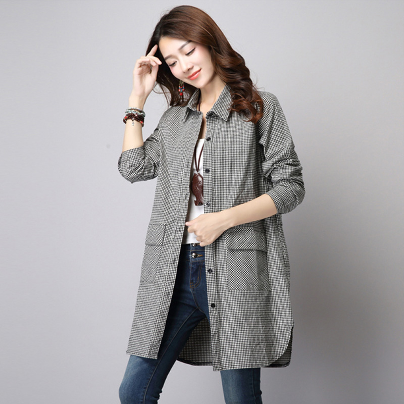 2018 New Spring Cotton Linen Women Blouses Shirts Casual Classic Plaid Long Sleeve Female Shirt Plus Size Tops Feminino