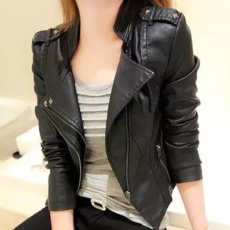 2017 New Women Faux   Leather   Jacket Sotf Pu Causal Fashion Coats For Women Black Short Female Motorcycle Jacket