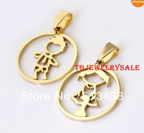 5set lot Hotsale Gold Stainless Steel sweet Lover's baby BoyGirl Pendant  birthday  Thanksgiving  Christmas gifts