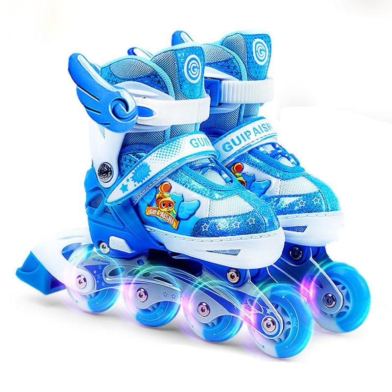 Bstfamly Children Flashing Roller Skate Shoes Inline Daily Street Brush  Skating Patines En Linea Adjustable PU f6d72d19d7