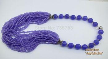 xiuli 0014982 Party Queen!! Wonderful Purple Jade&Tibetan Silver Beads Necklace