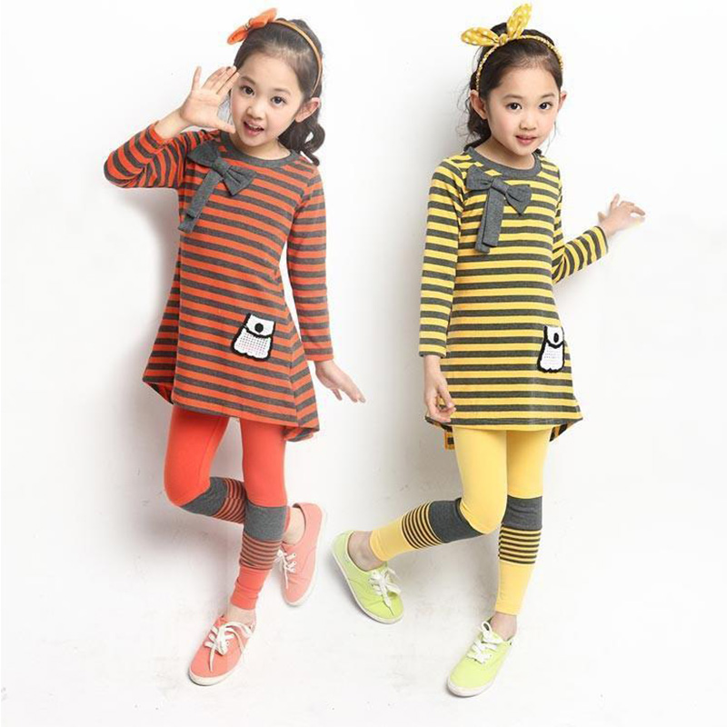 ФОТО 2017 Spring Autumn Europe America New Girls Sports Suit Striped Long-sleeved T-shirt + Legging