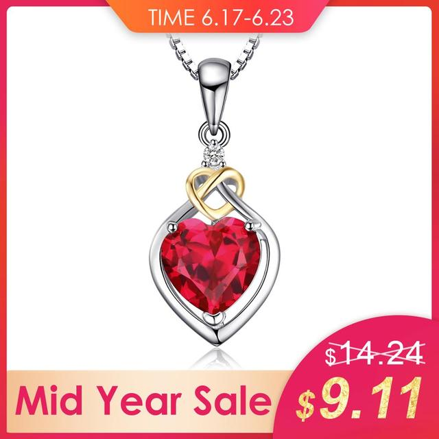 JewelryPalace 2.5ct Created Red Ruby Pendants 925 Sterling Silver Pendants Necklace Love Knot Heart Anniversary Without Chain