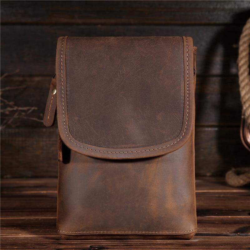 Fanny Pack Waist pack Bags Vintage women Men's Genuine Crazy Horse Leather Hip Belt Bum Pack Loop Travel Phone Purse Pouch B2093 diy lm2596 adjustable step down voltage regulator buck converter modul