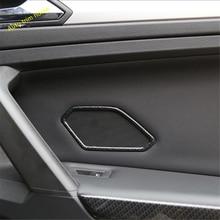 Lapetus Interior Refit Fit For Volkswagen VW Tiguan 2016 - 2019 Rear Door Stereo Speaker Frame Trim / Matte Carbon Fiber Style