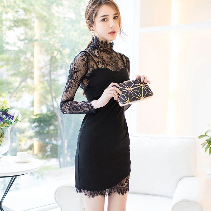 CINESSD OL Bag Hip Hollow Out Lace Dress 2019 Women Summer Stand Neck Sling Patchwork Party Bodycon Dress Vestidos Plus Size in Dresses from Women 39 s Clothing