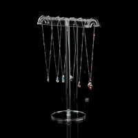 New Acrylic Necklace Display Holder Pendant Chain Display Rack Clear Jewelry Display Stand Jewellery Display Showcase