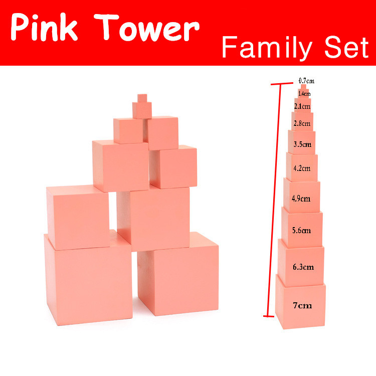 Montessori Toy Pink Tower Family Set Max Size 7cm Building Blocks Wooden Toys Educational 0.7-7cm Cube Blocks  Gift 81pcs set assemblled gear block montessori educational toy plastic building blocks toy for children fun block board game toy