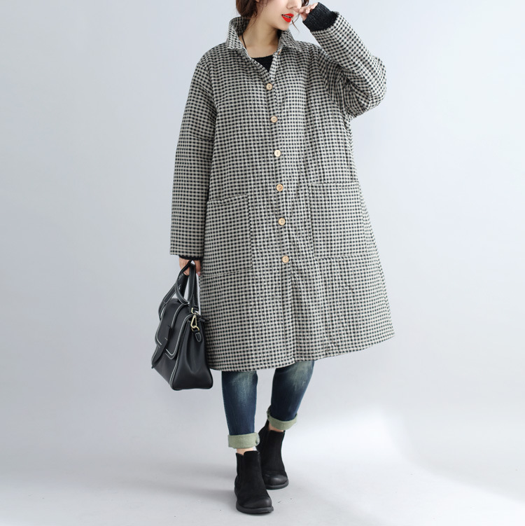 Johnature Turn-down Collar Winter Warm   Parkas   New 2018 Casual Loose Plaid Single-breasted Pockets Patchwoek Women Coats
