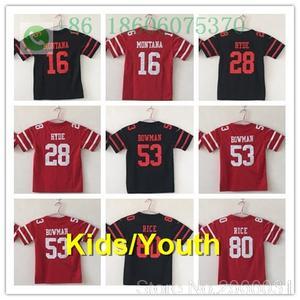 98d82a0cb00 San Francisco A+ quality Kids youth Young jersey 16 Joe Montana Carlos Hyde NaVorro  Bowman Jimmy Garoppolo jersey