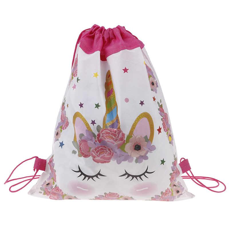 Единорог сумка на шнурке для девочек сумка для хранения путешествий мультфильм школьные рюкзаки Детские сувениры для вечеринки ко дню рождения