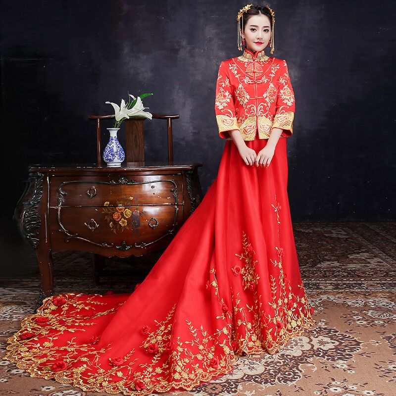 Chinois Star style mariage spectacle broderie cheongsam robe robe vêtements pratensis dragon robe de soirée robe noiva Qipao Vestidos