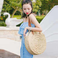 Mode nouvelle marque Designer été femmes grand rond paille sac à bandoulière plage sac à main dame rotin 2018 Totes femme sac de voyage