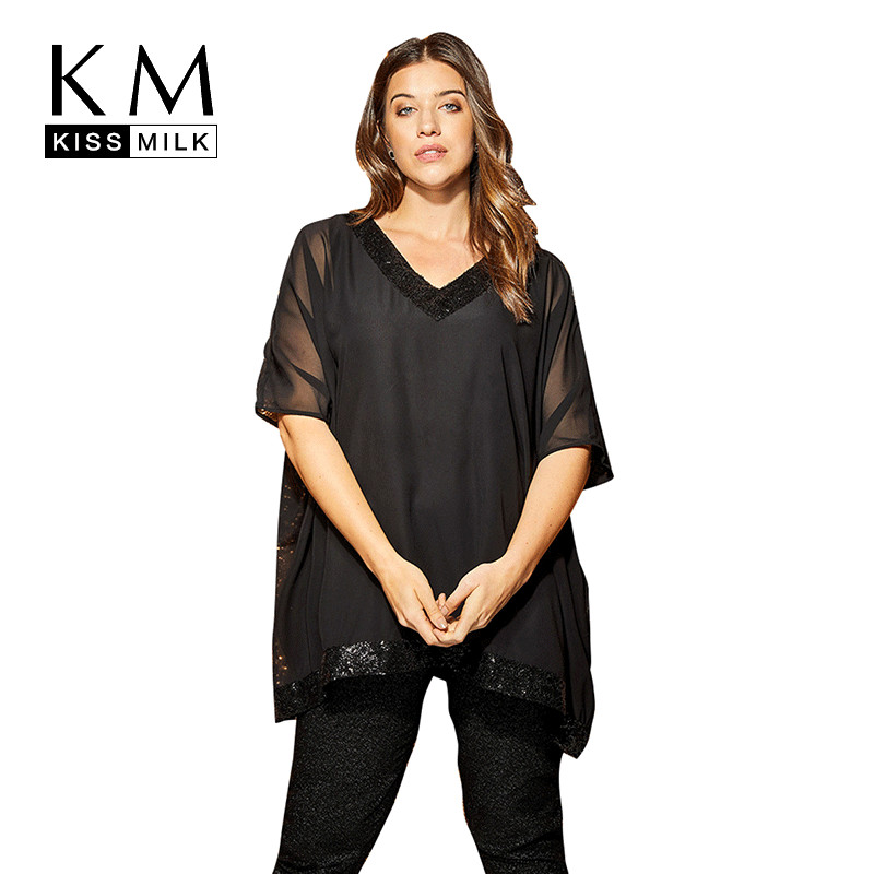 KISSMILK Large Size Simple European And American V-neck Sexy Sequins Mesh Stitching Micro-perspective Solid Color Shirt T-shirt