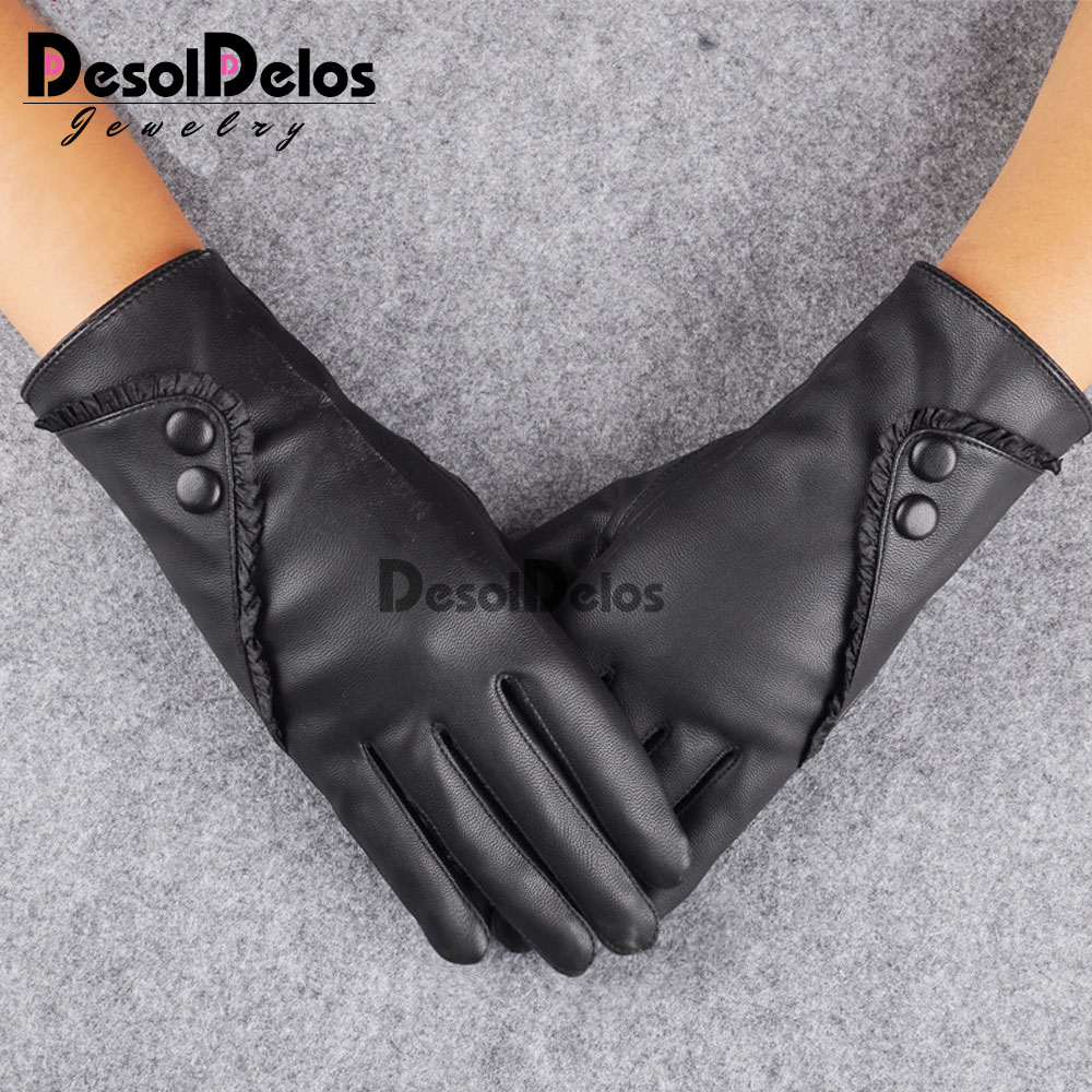 2019 Fashion Women Christmas Gloves Warm Lady Soft Leather Gloves Winter Warm Mitten Xmas Gift Black Mittens