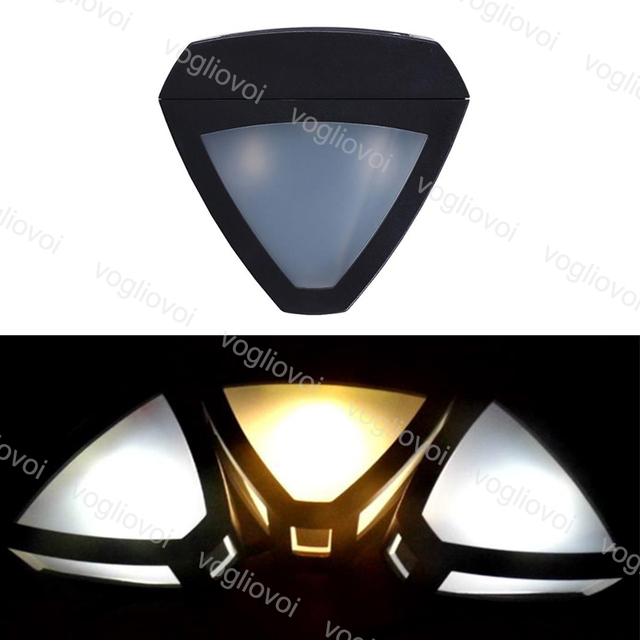 Vogliovoi Solar Led Outdoor Lighting Wall Light Triangle 2Led Warm White Garden Light WaterProof Resistant Outdoor Security Lamp