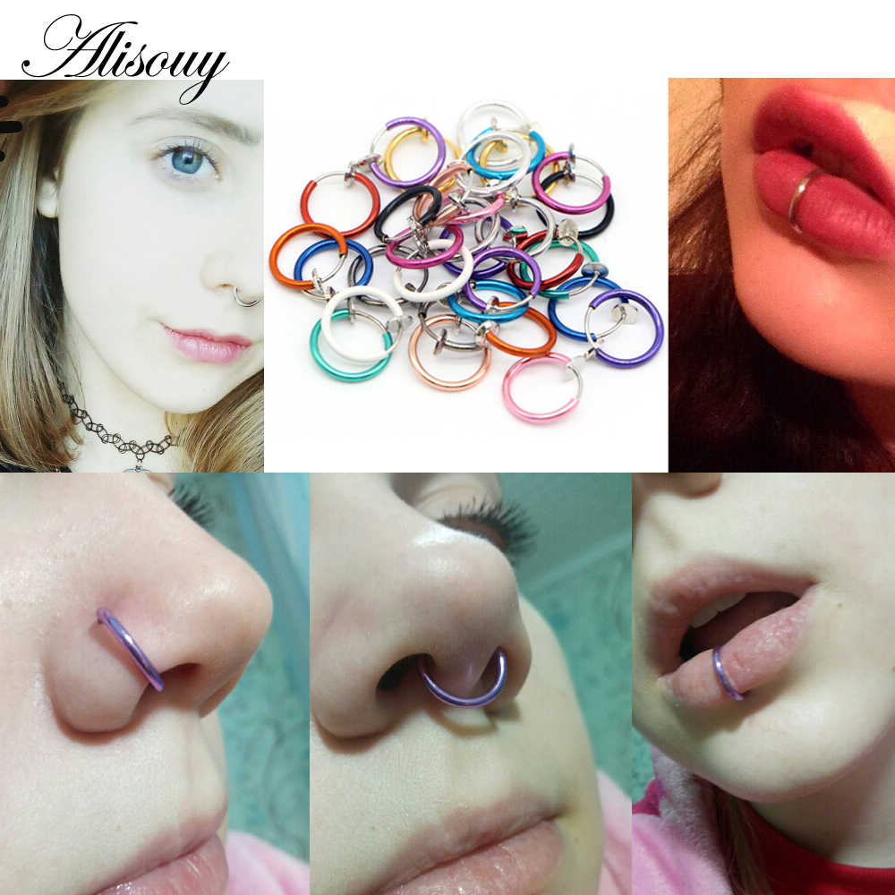 Alisouy 2 PCS Medical Nostril Titanium multi-color Nose Hoop rings clip on nose ring Body Fake Piercing women men body Jewelry