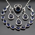 Christmas Gift Silver Color Jewelry Sets For Women Blue Created Sapphire White CZ Bracelet Earrings Necklace Pendant Rings
