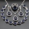 Conjuntos de Jóias Para As Mulheres Presente de natal Cor Prata Azul Safira Criado Anéis de CZ Branco Brincos Pulseira Colar de Pingente