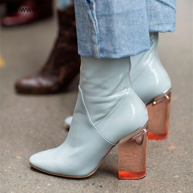 59952d96c60b Clear Block Heels Women Boots Round Toe 2018 New Arrival Ankle Booties Zip  Back Grey Pink Blue Fashion High Heels Shoes Woman