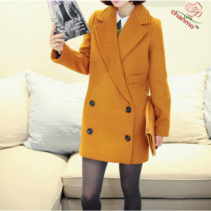 2017 Hot Sale Double Breasted Cotton Female Overcoat Casaco Feminino Women Coat Yellow European Style Coat Loose Outerwear YY259 hot style three points children quilted loose coat