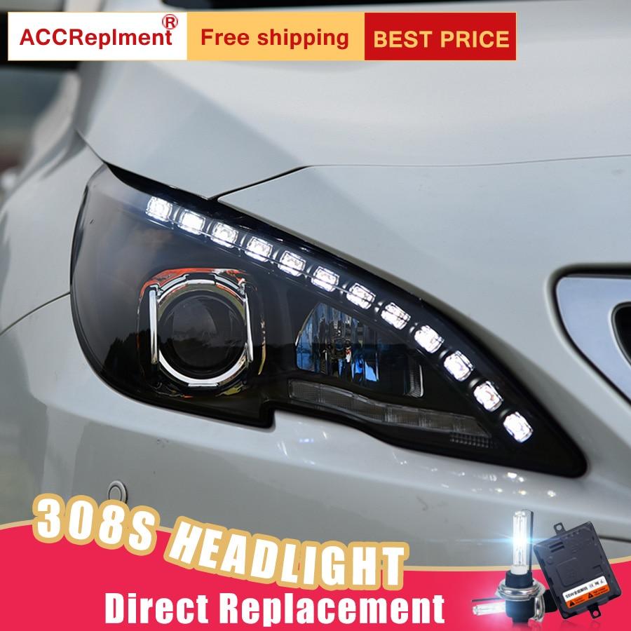 2Pcs LED Headlights For Peugeot 408 308S 2014-2018 led car lights Angel eyes xenon HID KIT Fog lights LED Daytime Running Lights